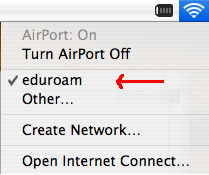 Picture of Airport Menu, eduroam selected