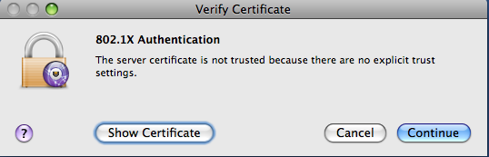 Verify certificate window