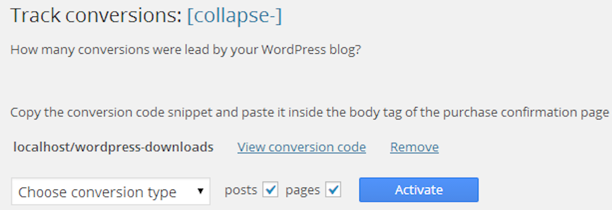 WordPress track conversions purchase subscriptions optins